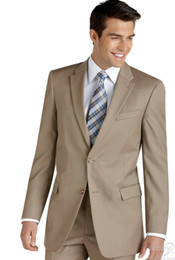 Wholesale Latest fashion cream colored men formal suit lapel single breasted two buttons on the groom s best man dress