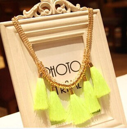 wholesale fashion women Handmade weave knitted neon cotton rope tassel metal necklace fluorescence color