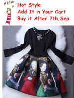 Cheap Elegant Round Collar Beaded Long Sleeve Vintage Dress Doll Print Patchwork Autumn Dress ( in Stock on 8th,Sep)