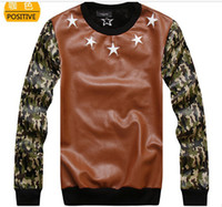 Cheap Wholesale-Happy new winter pentagram skateboard hee camouflage clothing PU sleeve crew neck pullover hoodie