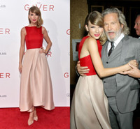 dresses new york - Taylor Swift in Red Monique Lhuillier Gown at THE GIVER New York Premiere A line Ankle Length Sleeveless Satin Celebrity Dresses