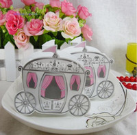 Wholesale 50 pieces Carriage Favor Box Gift Paper Bags Wedding Box Pumpkin Carriage Wedding Favor Baby Shower Party Candy Boxed Pink
