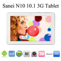 Wholesale Sanei N10 quot Quad Core Bulit in G Android Tablet PC G Ram G Rom Sim Card Slot inch IPS HD Screen Bluetooth GPS Dual Camera