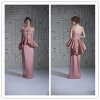 Cheap Sheath Strapless Evening Dresses Floor Length Lace Cascading Ruffles Peplum Stretch Satin Special Occasion Dresses