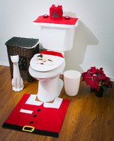 Wholesale 2014 XMAS Santa Toilet Seat Cover and Rug Set Red and White