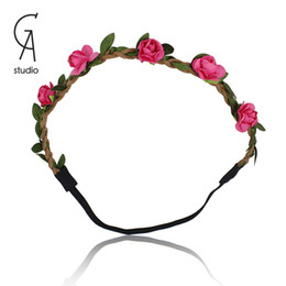 Wholesale Girl Flower Headbands For Women Garland Head Band With Multicolor Flowers Hair Band Beach Bride Wedding Wear Hair Accessories