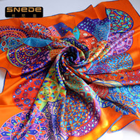 Cheap Mother's Day free shipping spring ladies silk satin 100% authentic brand silk scarf large square scarf