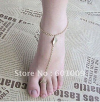 Wholesale New LEAF ANKLET Bracelet TOE Ring Chain Linked Foot Jewelry Gold