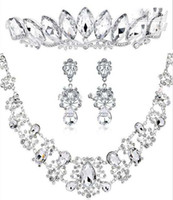 austrian crystal jewlery - Victorian Clear Austrian Rhinestone Crystal Necklace Earrings Set Bridal Crown Tiara Wedding Jewlery