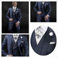 Wholesale Fabulous Navy Blue Wedding Groom Tuxedos Suits Peaked Lapel Groomsmen Men Suits Black The Best Man Formal Suits Jacket Pants Vest