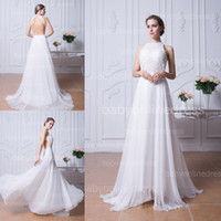 beaded halter neck wedding dresses - 2014 High Neck A Line Chiffon Bridal Beach Wedding Dresses Sheer Lace Backless Crystal Beaded Prom Dress Formal Evening Gowns Party BZP0355