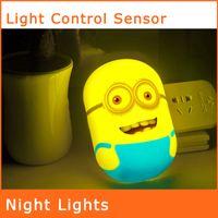 Wholesale 3D Cartoon Bedside Lamp Creative LED Energy saving NightLight Light Control Lamp Baby Wallpaper Wall Night Light NL025