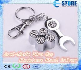 Wholesale Anti theft Stainless Steel Silver Car Wheel Valve Caps Tyre Stem Air Caps PASSAT JETTA POLO QS149 J