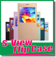 Cheap S-View case Wake Sleep smart case open window Cover Flip cases for Samsung Galaxy S4 i9500 S 4 S5 S 5 i9600 Note 3 N9000 for iphone series