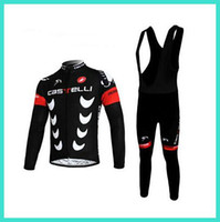 Wholesale 2015 Latest Castelli cycling jersey bib long sleeve winter thermal fleece cycling jerseys fashion scorpion design compressed cycling wear
