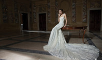 Cheap 2014 Winter Berta Bridal Gowns Lace Backless Wedding Dresses Sexy Spaghetti Straps Court Train Mermaid Wedding Gowns Custom Made