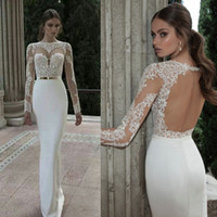 Sheath/Column Model Pictures High Collar Berta Bridal 2014 Lace High Collar With Sheer Long Sleeves Mermaid Illusion Wedding Dresses Floor Length Long Backless Prom Evening Gowns