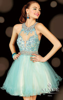 Wholesale 2015 Light Blue Sexy Short Mini Cocktail Dresses Jewel Sheer Backless Sleeveless Ball Gown Prom Dresses Crystal Party Gowns WJ090215