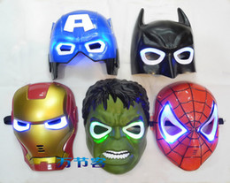 Wholesale 5pcs super heroes Movie Model Blue LED Light Eyes Mask Captain America Hulk Batman Spider man Iron Man PVC Action Figures toys