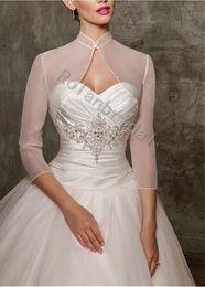 Wholesale Novia encogimiento de los hombros Tres cuartos de manga organza accesorios de la boda bonita o chaquetas abrigos nupcial