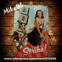 Cheap [ Mike86 ] Pin-up Girl Bowl Strike Metal Signs Poster Gift PUB Wall Art Iron Painting Craft Bar Decor B-215 Mix order 20*30 CM