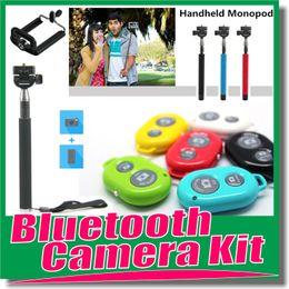 Wholesale Top Extendable Handheld Self portrait Monopod selfie stick Photograph Bluetooth Shutter Camera Remote Controller Holder for iPhone Samsung