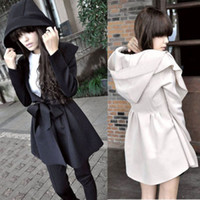 Wholesale Korean Womens Long Sleeve Lapel Hooded Trench Coat For Women Outwear Slim Casual High Quality Windbreaker With Waistband