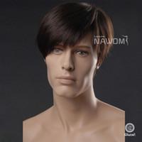 Wholesale quot Male Glamorous Charming Fashion Black Straight Kanekalon Fiber Synthetic Wig Hair High Quality H9101Z