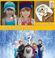 Wholesale Crochet hats with plait FROZEN olaf anna elsa quality christmas best gife Crochet hats Comfortable hand knitting hot sale DHL FAST FREE