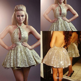 2019 Hot Sexy sequins Homecoming Dresses Halter Princess Ball Gown Backless Sequins Short Prom Dresses Cocktail Party Dresses