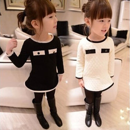 Wholesale 2014 Autumn Fashion Children Girl s Chic And Easy Embossed Pocket Princess Dress Fashion Design Can mix Size And Color