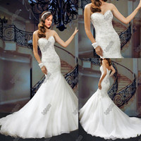 Wholesale 2014 Wedding Dresses Organza Sweetheart Floor Length Beaded Pearls Sequins Ruffled Mordern Mermaid Concise Grace Elegant Summer Style W137