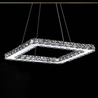 Cheap LED Crystal Chandelier, Modern Square Stainless Steel Plating free shipping