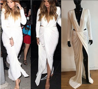 Wholesale 2015 Sexy Sheath Lycra Michael Costello Evening Dresses Inspired khloe kardashian V Neck Cutout Prom Party Gowns Formal Dress Side Slit