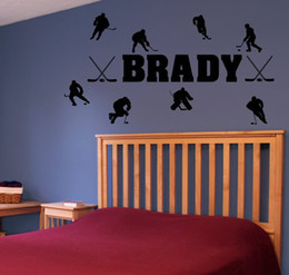 Personalized Name & Hockey Players Vinyl Wall Decal Sticker Decor