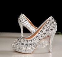 Cheap 2014 SSJ New Luxury Silver fish head Wedding Bride Shoes Transparent Waterproof 12 cm High-heel Crystal Prom Evening Party Shoes HY014