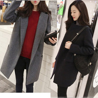 Wholesale 2014 New Arrival Women Coat Medium Long Brief Suit Wool Cotton Long Overcoat Cashmere Thick Outerwear Winter Coat Women