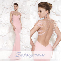 Wholesale 2015 Custom Made Tarik Ediz Prom Dress Exquisite Pink Flowers and Beads See Through Backless Cap Sleeve Sheath Stunning Evening Dress