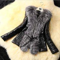 Cheap Women Leather Jacket Best Stand Collar Long Sleeve Winter Coat