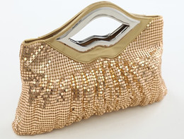 Wholesale Bridal Hand Bags With Artificial Leather Sequins And Gold Black Red Fashion Ruched Evening Bags