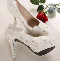 Cheap 2014 ssj new Vintage Lace crystal full pearls Shiny lady's formal shoes High Heels Bridal Prom Party Wedding Shoes Bridesmaid Shoes HY016