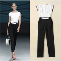 Wholesale High Street Women Playsuit Jumpsuits Black And White Patchwork Ladies Rompers Plus Size Runway Jumpsuit Ladies Formal Overalls S XL