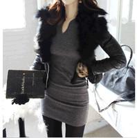 women winter tights - 2014 HOT Autumn Winter Women Casual V Neck Stretch Tight Long Sleeve Slim Short Dress DH04
