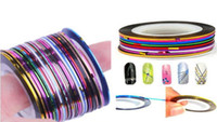 Wholesale 30pcs Colorful Beauty Rolls Striping Decals Foil Tips Tape Line DIY Design Nail Art Stickers Tools Decorations