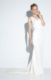 Wholesale 2014 New Arrival Sheath Wedding Dresses Off the Shoulder Satin Lace Shiffon V Neck with Chapel Train Satin Sleeveless Wedding Ball Gowns