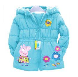 Wholesale Kids Peppa Pig clothes Children s Coat Cute Girls Warm Coat Winter Children Cotton Jacket thick fur Clothes white cap Kids clothing