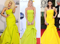 Wholesale Nicki Minaj Party Dresses Mermaid Strapless pleat Yellow Green Taffeta Celebrity Dresses Monique Lhuillier Formal Gowns