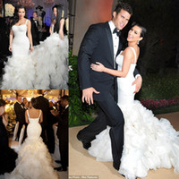 Cheap Vintage 2014 Kim Kardashian Mermaid Wedding Gowns White Actual Image Custom Ivory Sexy Lace Chapel Train Tiered Celebrity Wedding Dresses