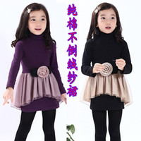 Wholesale 2014 Autumn Winter Children Korean Clothes Girl Long Sleeve Flower Gauze Princess Dress Pure Cotton Mirco Velvet Thicken Kids Dresses WD129