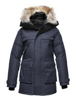 Wholesale Navy Nobis YATESY down coats Nobis YATESY Men s Long Parka Crosshatch Snow coats Men down jackets Canada USA Finland